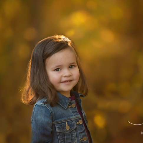 2 year old girl in jean jacket with golden sunlight in her hair