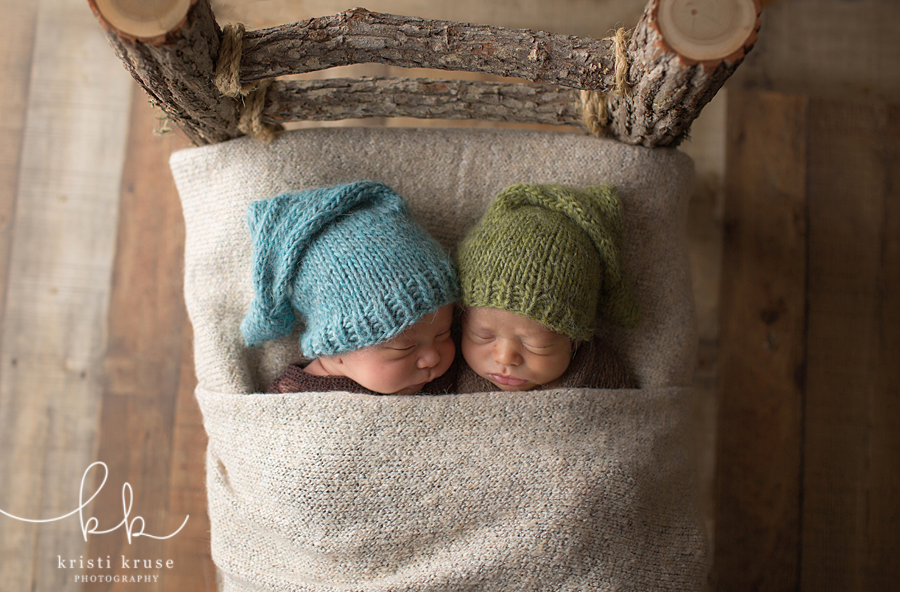 Newborn twin boys in tree limb bed with sleepy caps